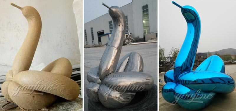 Wholesale modern stainless steel art large outdoor garden blue balloon swan replica jeff koons for sale from china professional factory directly supply