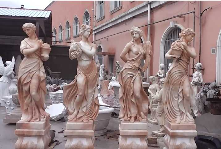 600-400-Outdoor Hand Carved Marble Four Season StatuesSculptures For Garden Decor
