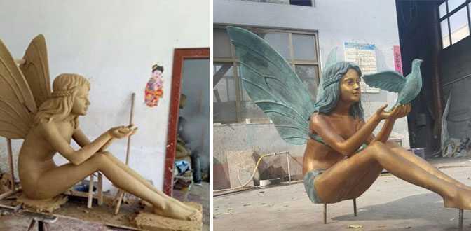 outdoor Bronze figurines Girl Angel Statue for park