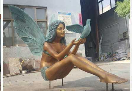 outdoor fairy bronze garden angel girl statue with dove