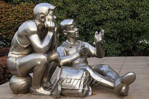 stainless steel children sculpture