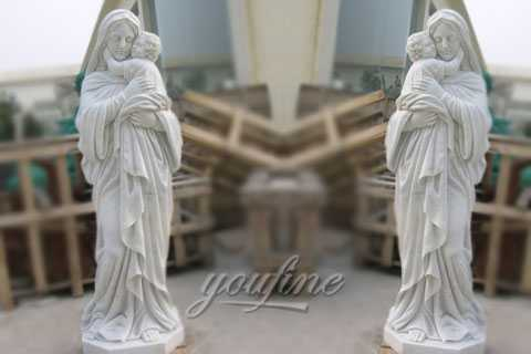 Religious art mother mary and baby jesus sculptures for garden