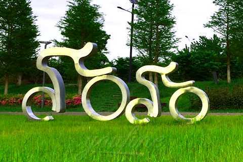 Abstract sports theme bicycle riding stainless steel figure statue for decor