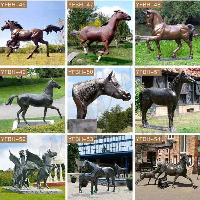 Antique Black Bronze Standing Horse Sculpture for Sale