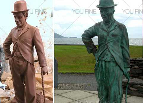 Bronze life size charlie chaplin figurines for sale