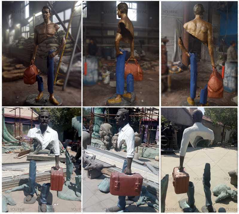 Bruno catalano Bronze Traveler Sculptue In Park