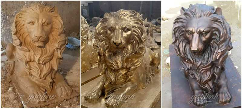 Contemporary bronze lion statue