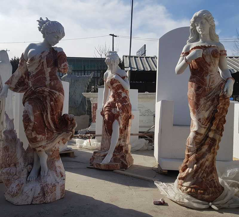Factory supply multi colored marble woman garden statues design