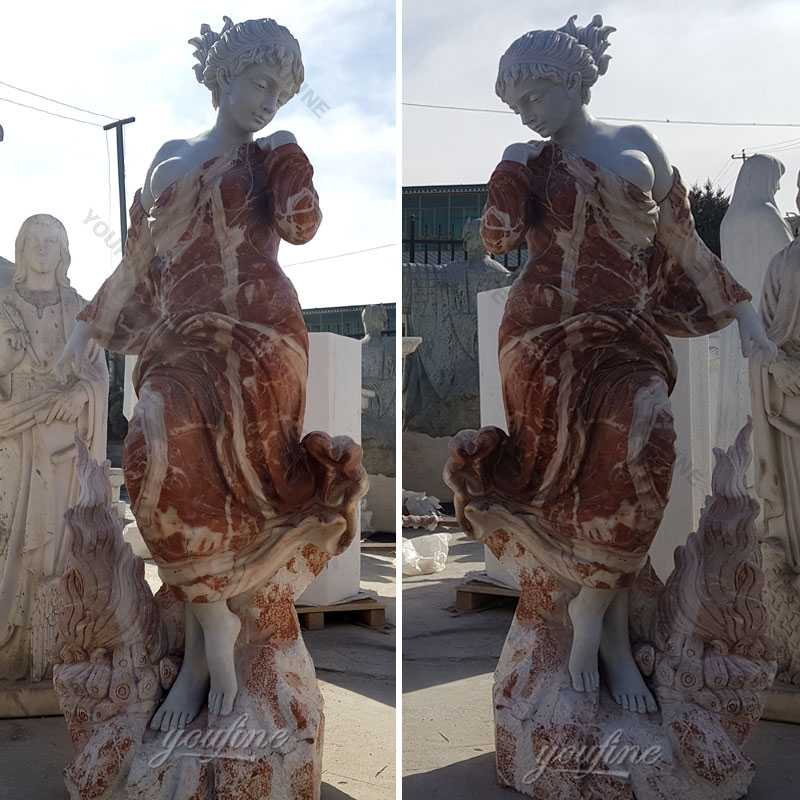 Factory supply multi colored marble woman garden statues