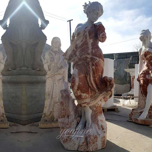 Factory supply multi colored marble woman statues for garden designs