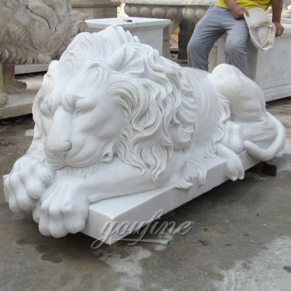 Outdoor Guardian Western Huge Sleeping Lion Statue For Garden Decor