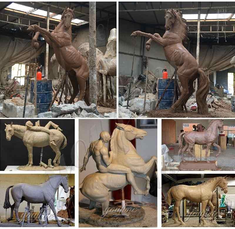 Hot Selling Antique Black Bronze Standing Horse Sculpture for Sale