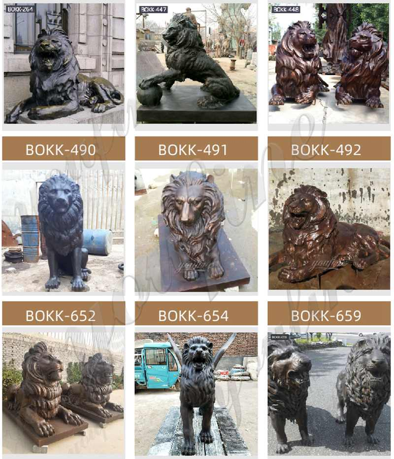 Large bronze lion statues for home decor at entrance
