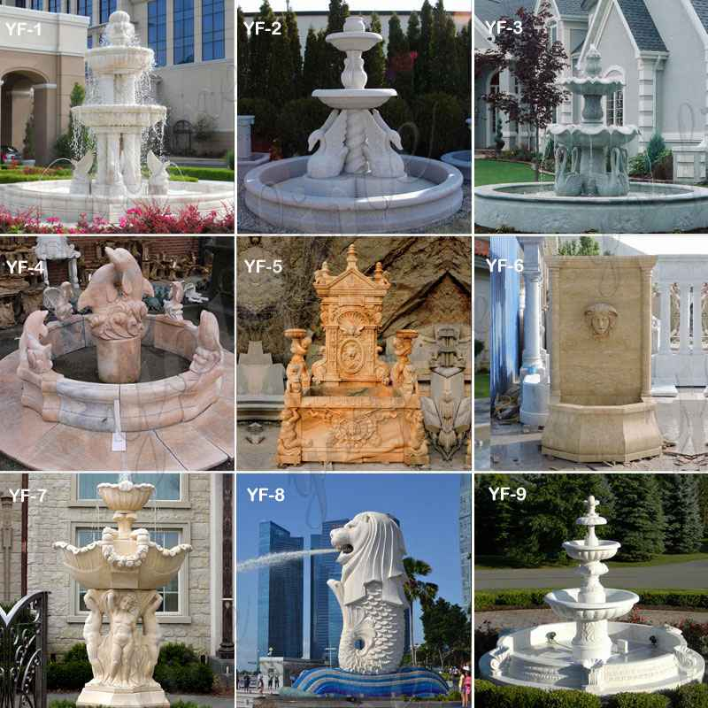 Large outdoor lion stone wall fountains