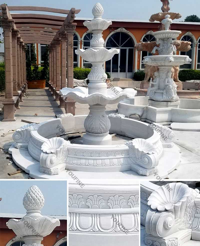 Life size hot selling pure white 3 tiered outdoor marble fountain garden water fountain for sale