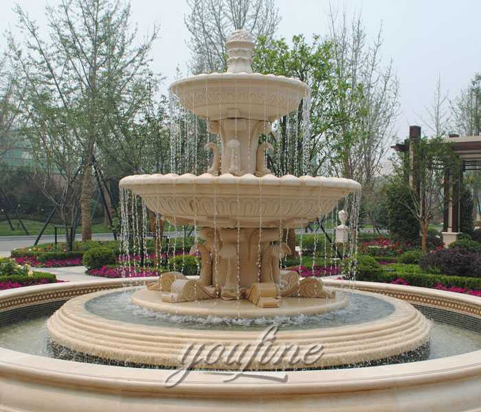Life size outdoor beige marble tiered waterfall fountain on sale