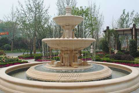 Life size outdoor beige marble tiered waterfall fountains on sale
