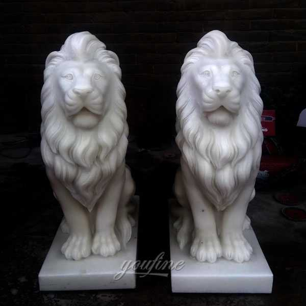 Customize Pair of Lion Statues Stone Lion Statues for Driveway Decoration MOKK-185