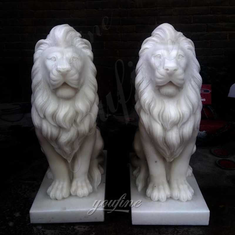 MOKK-185 Pair-of-lion-statues-stone-lion-statues-for-driveway