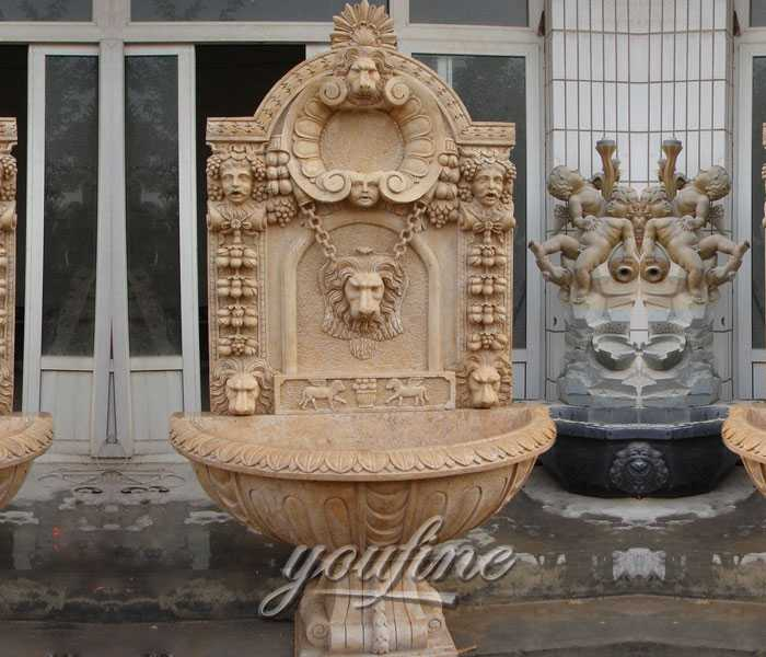 Marble lion design garden wall fountains with basin for home decor