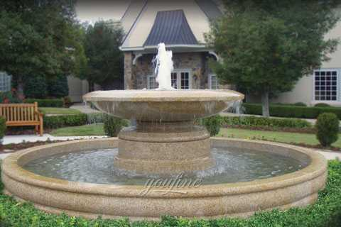 Outdoor large simple tiered natural beige marble yard fountain for sale