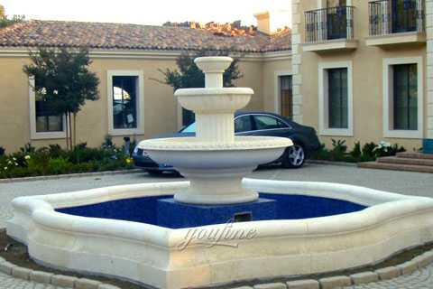 Outdoor large three tiers natural beige marble yard fountain for sale