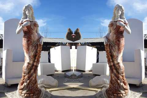 Outdoor life size marble stone beautiful standing woman sculptures in stock–MOK-556