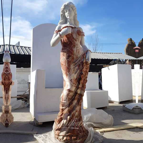Outdoor life size marble stone beautiful standing woman sculptures in stock designs