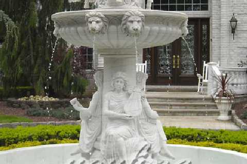 Outdoor modern large art water fountain with angel girl lion head horse sculpture
