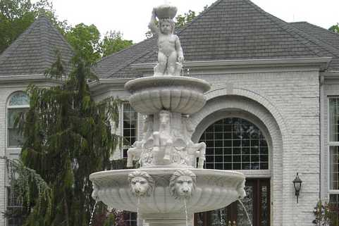 Outdoor modern large art water fountain with angel girl lion head horse sculptures on discount