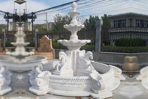 Outdoor pure white marble tiered water horse fountains for sale MOK-126