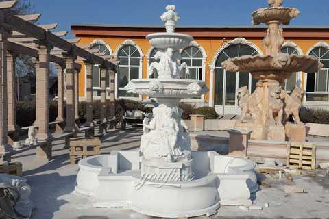 Outdoor pure white tiered water horse fountains with sitting woman statue for yard decor
