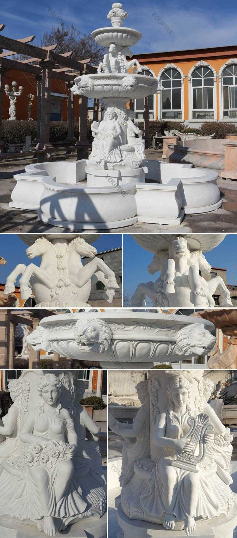 Outdoor pure white tiered water horse fountains with sitting woman statue for yard decoration