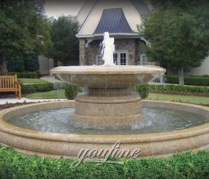 Outdoor simple tiered natural beige marble yard fountain for sale