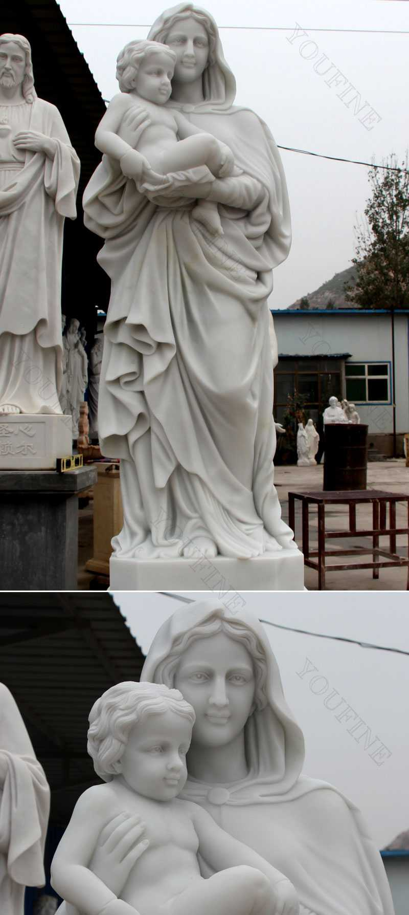 Outside religious mary and baby jesus marble sculptures details
