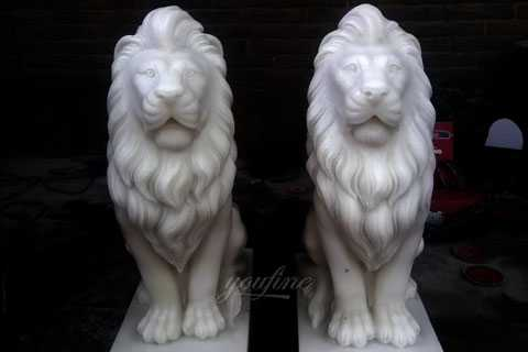 Pair of lion statues stone lion statues for driveway–MOKK-185