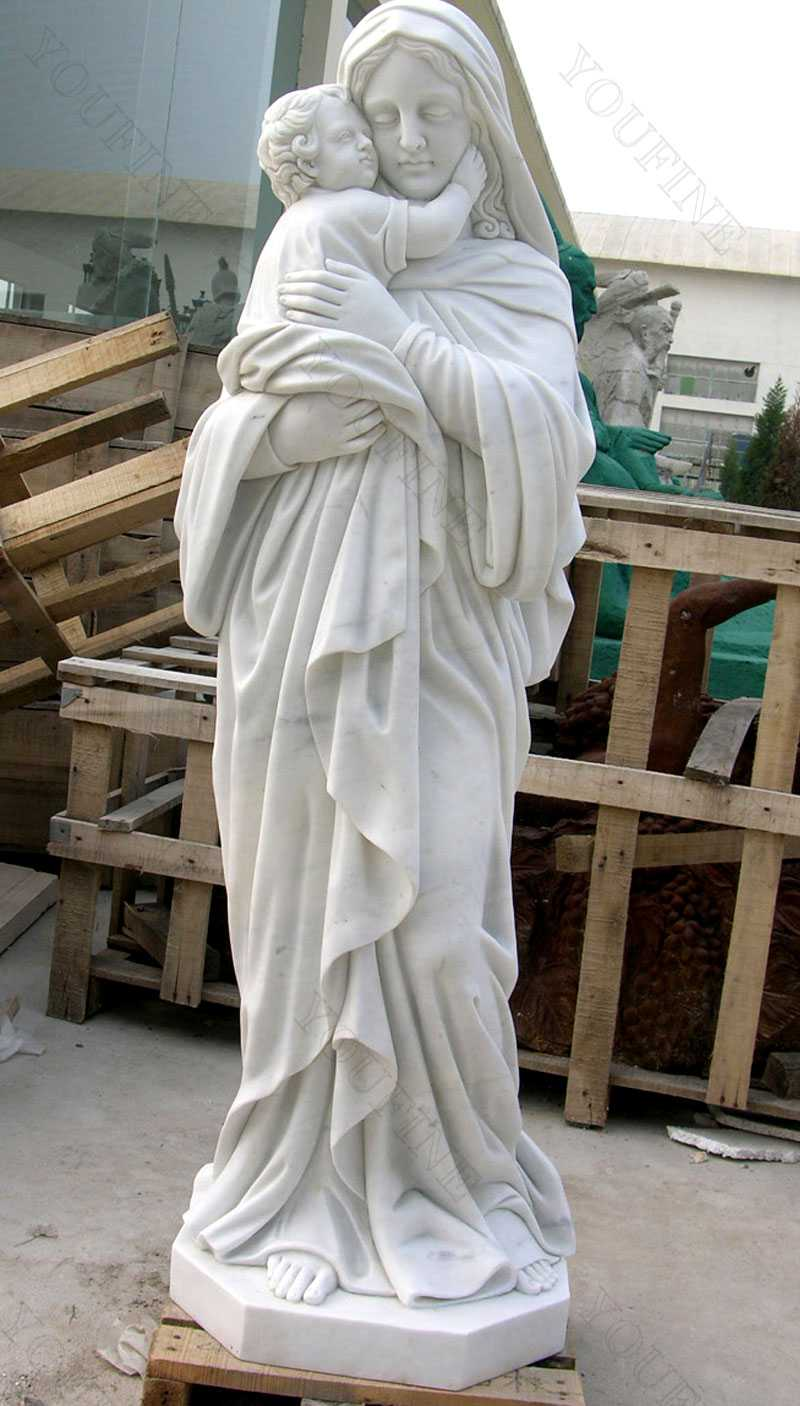 Religious art mother mary and baby jesus sculptures for garden designs
