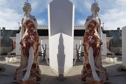 The stocked human size marble woman statues on discount for Chinese new years celebration