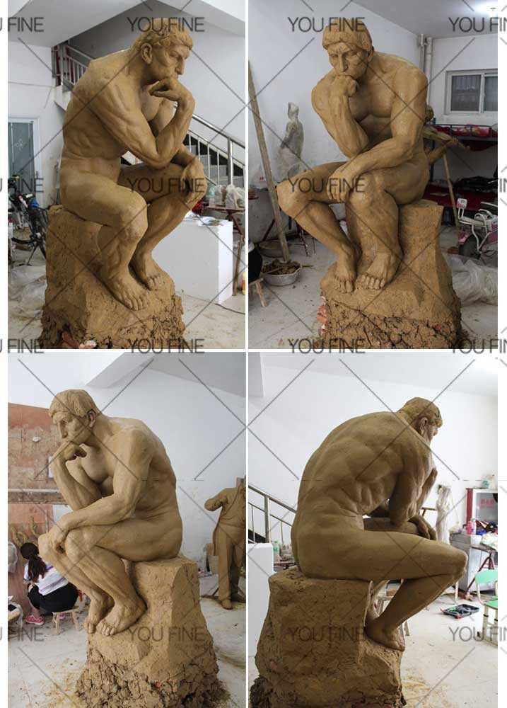 Thinker statue for garden decor