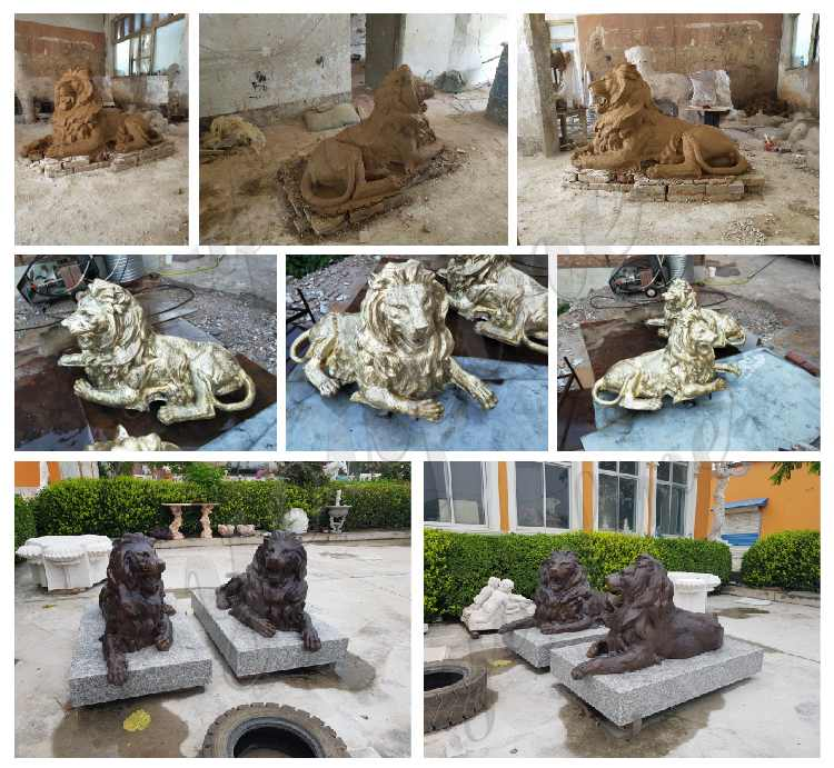 bronze lion statues for home decor at entrance