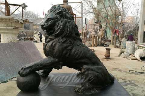 bronze outdoor lion statue