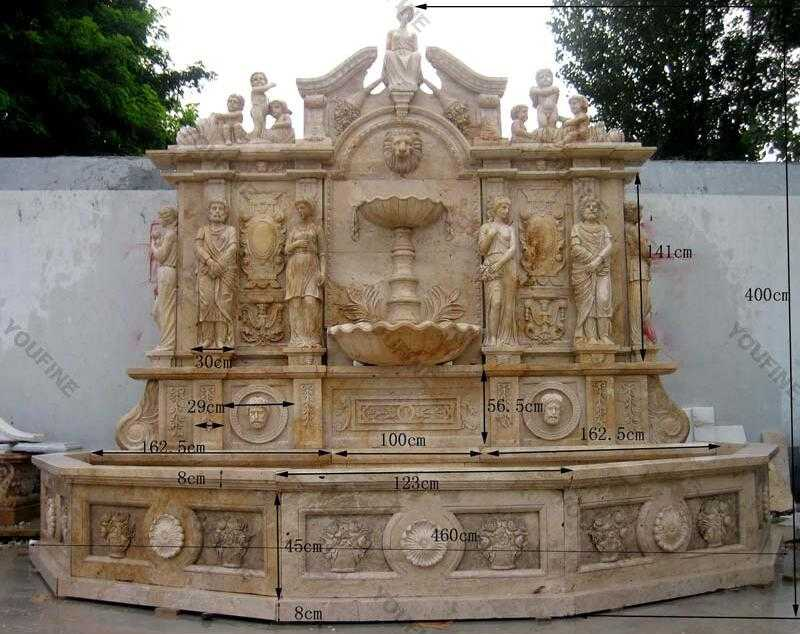large beige wall water outdoor fountains for sale