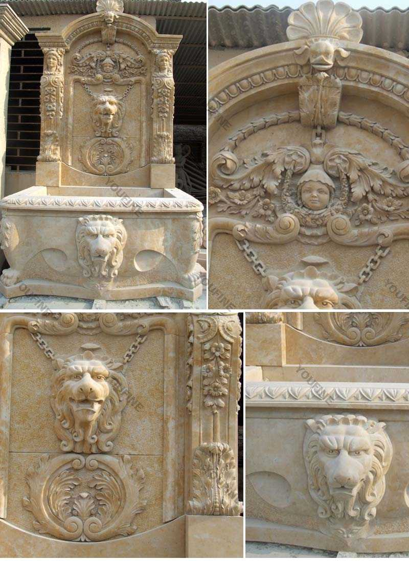 large beige wall water outdoor fountains with lion head design for sale