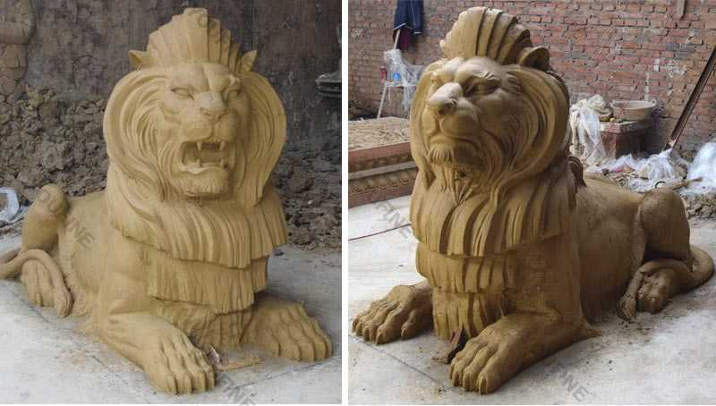 life size bronze lion statue clay mold for sale