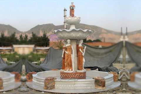 outdoor large marble fountain with angel statues for garden decor