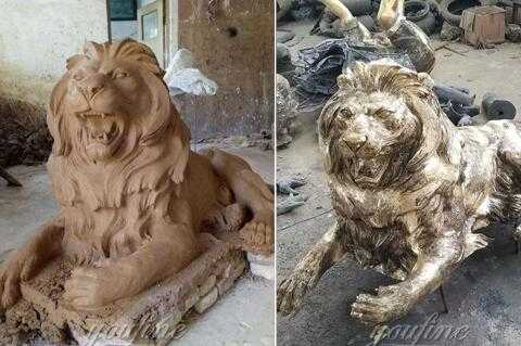 outdoor lion statue