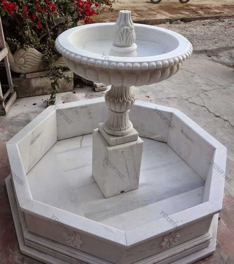 white marble water fountains