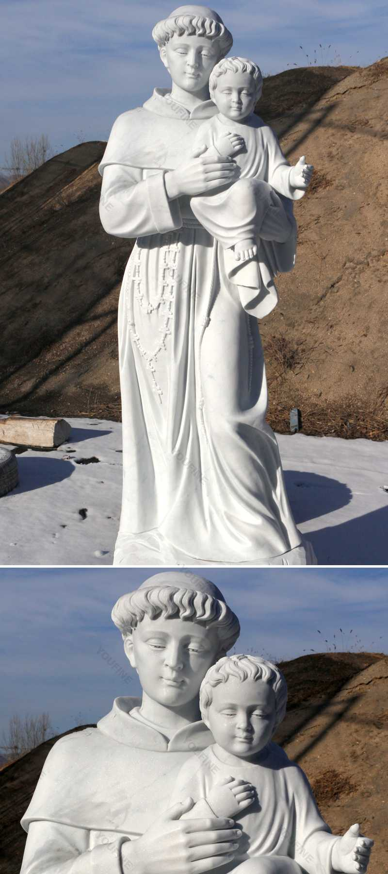 The details 72 inch statue of Saint Anthony marble stone in stock now