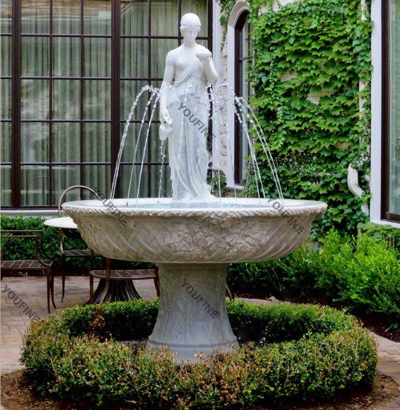Yard decor marble water fountains with woman pouring water statues for sale