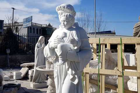 marble statue of Saint Anthony for garden decor